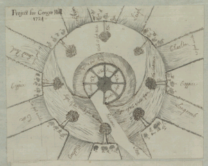 Landscape design for Conger Hill on the Kings Weston Estate, dated 1724