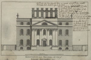 Kings Weston House: South-east elevation drawing by Leon Shenk, c. 1710